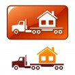 Stock Vector: Truck transporting house