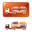Stock Vector: Truck transporting cars