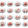 Stock Vector: Web icons on ellipse buttons 4. Multimediand telecom