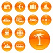 Travel icon set. Orange series — Stock Vector