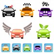 Car icon set — Imagen vectorial