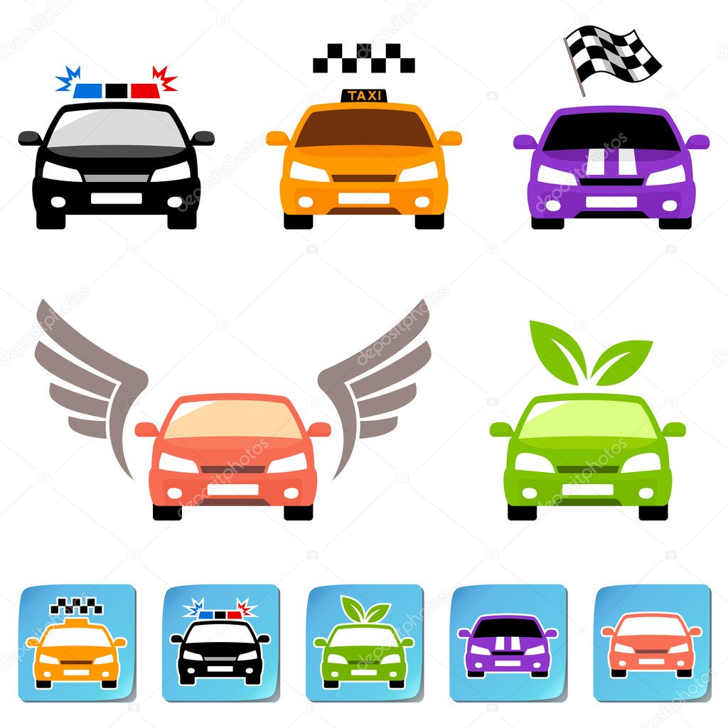 Car Icon Set Set of Car Icons And Stickers Vector by Cgart