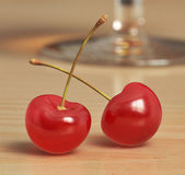 Two red cherries — Stock Photo