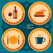 Restaurant poster design with food and drink icons — Stock Vector #48476991