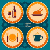 Restaurant poster design with food and drink icons — Stock Vector
