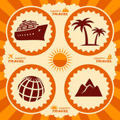 Travel icons in poster design — Stock Vector