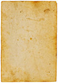 Antique yellow paper isolated on white background — Stock Photo
