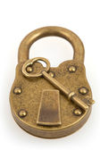 Padlock and key isolated on white background with clipping path — Stock Photo