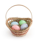 Easter basket isolated on white background with clipping path — Stock Photo