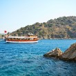 Aegean sea landscape with ship. Turkey. Marmaris. — Stock Photo