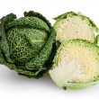 Savoy cabbages isolated on white background with clipping path — Stock Photo