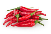 Red chili peppers isolated on white background with clipping path — Stock Photo
