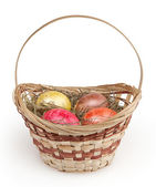 Easter basket isolated on white background — Stock Photo