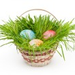 Easter basket isolated on white background with clipping path — Stock Photo #41104855