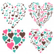 Hearts-notes-keys-set — Stock Photo