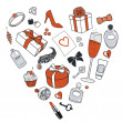 Presents-for-women-in-heart-shape — Stock Photo #13807219
