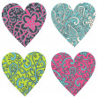 Ornate-hearts-set — Stock Photo