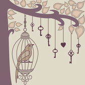 Bird-and-keys-from-it`s-cage — Stockfoto