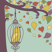 Bird-in-cage-and-autumn-leaves — Stockfoto