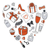 Presents-for-women-in-heart-shape — Stok fotoğraf