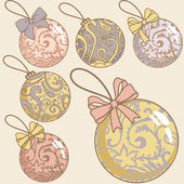 Retro christmas balls set — 图库照片