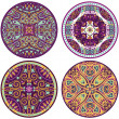 4 color mandala set — Stock Photo