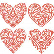 Decorative-hearts-set - 图库照片