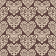 Stock Photo: Hearts-pattern-on-brown