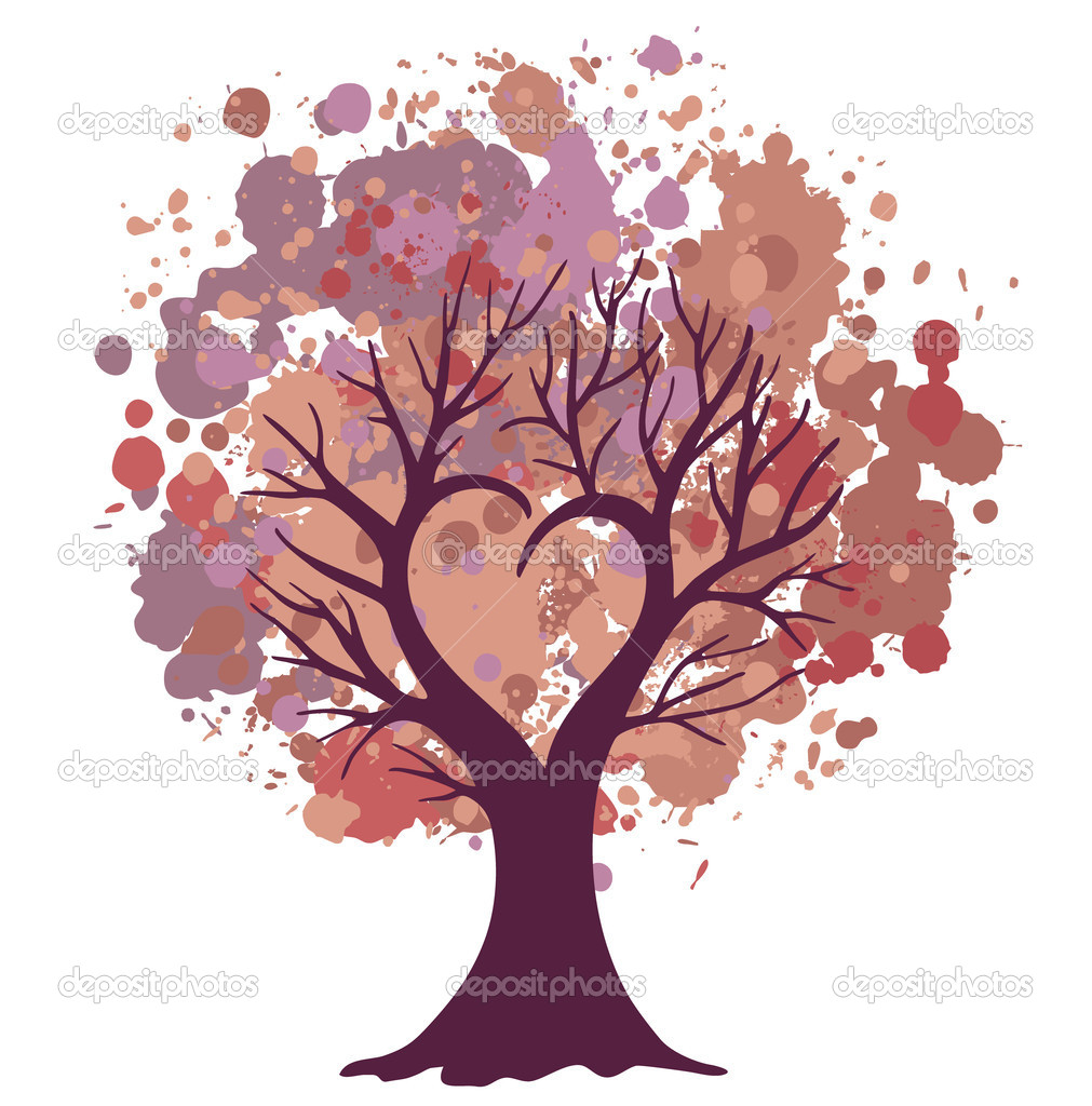 Vector valentine tree with splashes — Stock Photo #19423283