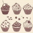 Stock Photo: Cakes silhouette set