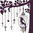 Bird keys tree silhouette — Foto de Stock