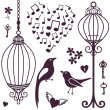 Stock Photo: Wall stickers birds cages