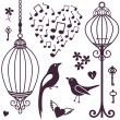Wall stickers birds cages — Stock Photo