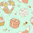 Valentine day seamless pattern - Stock Photo