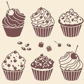 Cakes silhouette set — Stock Photo