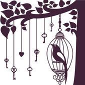 Bird keys tree silhouette — Stock Photo