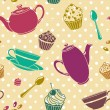Tea cakes pattern - Stock Photo