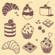 Stock Vector: Bake and sweets set