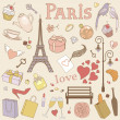 Paris set pastel — Stock Vector
