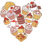Heart of cakes — Stock Vector