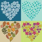 Four season hearts — Stock Vector