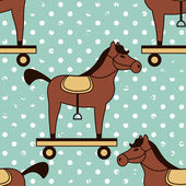 Toy horses seamless pattern — Stock Vector