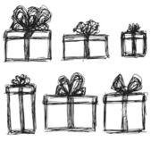 Drawn presents set — Stock Vector