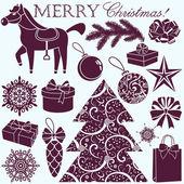 Christmas silhouettes set — Stock Vector