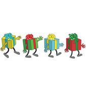 Presents walking — Wektor stockowy