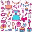 Princess birthday in color — Stock Vector