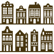 Houses silhouette set — Stock Vector
