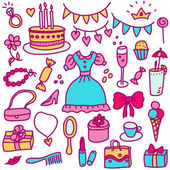 Princess birthday in color — Vector de stock