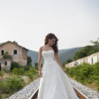 Bride on a railway — Stock Photo