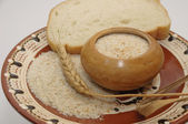 Breadcrumbs with wheat ear — Stock Photo